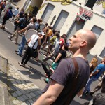 Felix recording Blockupy demonstration in Frankfurt
