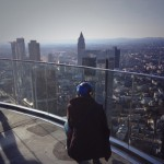 Julia recording on the top of the Main Tower in Frankfurt