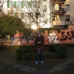 Julia recording in the park Wallanlagen in Frankfurt